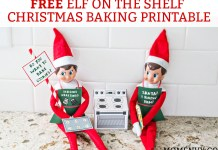 Free Elf on the Shelf Christmas Baking Printable. Free Christmas Cookies printable for The Elf on a Shelf. Print a 3D oven for your elf, cookie dough, a cookie tray, and free printable Elf-on-the-shelf aprons! #elfontheshelf #elfonashelf #freeprintables #christmas #freechristmasprintables