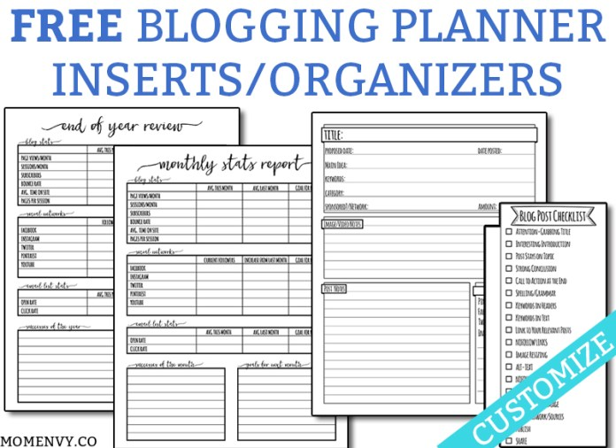 FREE Blogging Planner Inserts and Organizers. Download these free and completely customizable planner inserts. Get everything you need to draft a successful blog post. Four different blogging worksheets are available. They can be printed to fit ANY size planner or printed in letter size. #blogging #freeplannerinserts #happyplanner #bloggingtips