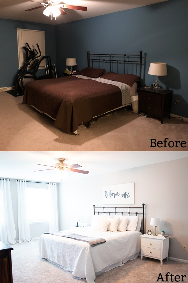 Check out how we made over and staged our master bedroom to sell. How to Stage a House - How to Prepare a House to Sell. Learn these simple tips for how to stage your house so it will sell quickly. #homedecor #buyingandselling #hgtv