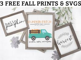Free Fall Printables. Download 3 adorable printables that are the perfect addition to any fall decor. These farmhouse style prints are available in JPEG, Silhouette, and SVG format. These 3 free fall svg files are perfect for creating pillows, signs, and fall gifts. #falldecor #freeprints #fallprintables #svgfiles