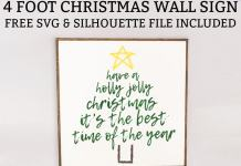 Free Christmas SVG. Download this adorable Holly Jolly Christmas SVG to create your own wood sign or home decor. It's perfect for Silhouette and Cricut Christmas crafts. #christmascrafts #silhouette #cricut #freesvg