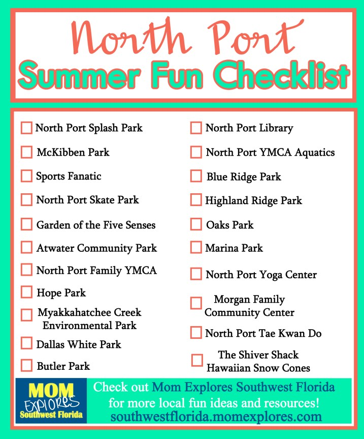 North Port Summer Fun Checklist. Fun things to do with the kiddos in North Port, FL this summer!
