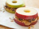 Apple Sandwich: Apple, Peanut Butter, Nuts and Chocolate Chips!