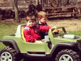 Ryan and Sean Cruising in Their Power Wheels Fisher-Price Monster Traction Jeep Hurricane