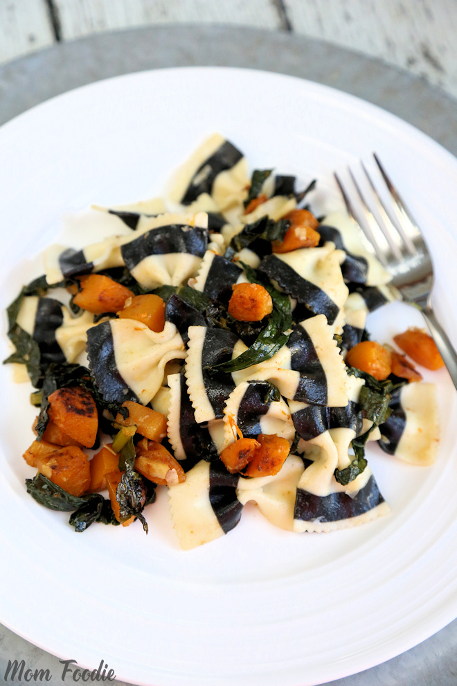 Black & White Striped Farfalle with Butternut Squash and Kale Vegetarian Halloween Dinner