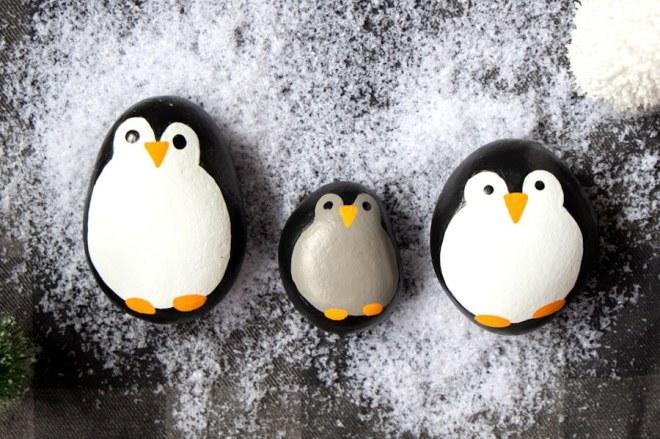Christmas Penguin Painted Rocks
