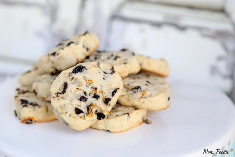 Cranberry Orange Shortbread Cookies with Walnuts