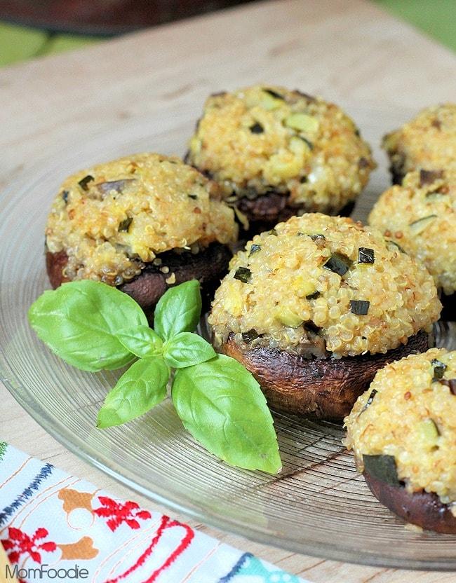 Gluten Free Stuffed Mushrooms with Zucchini Quinoa Stuffing