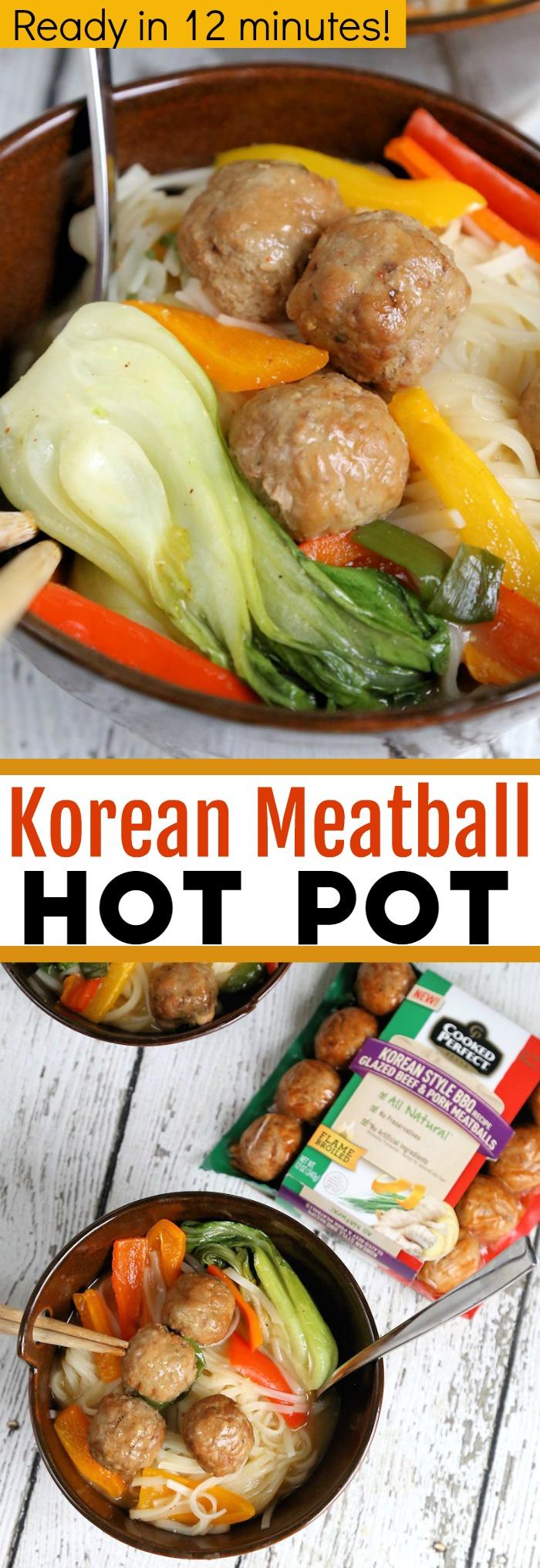 Korean Meatball Hot Pot - easy recipe ready in 12 minutes