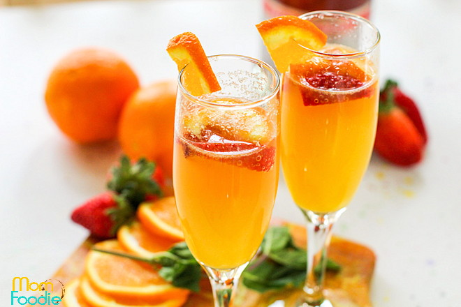 Pink Champagne Mimosas with strawberries