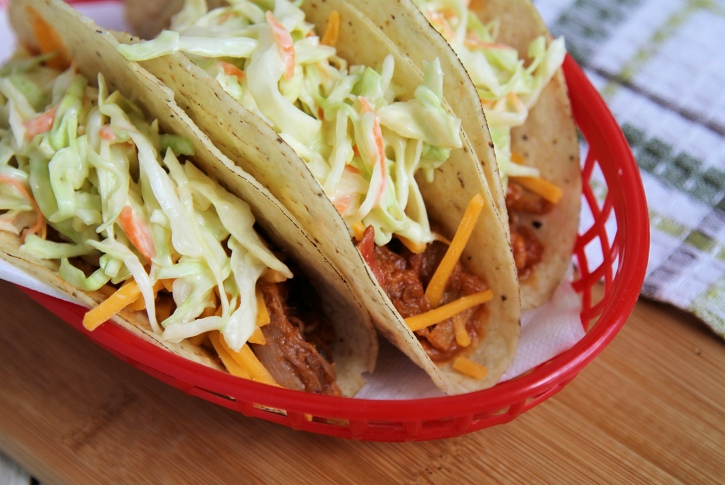 Pulled pork Tacos with quick slaw