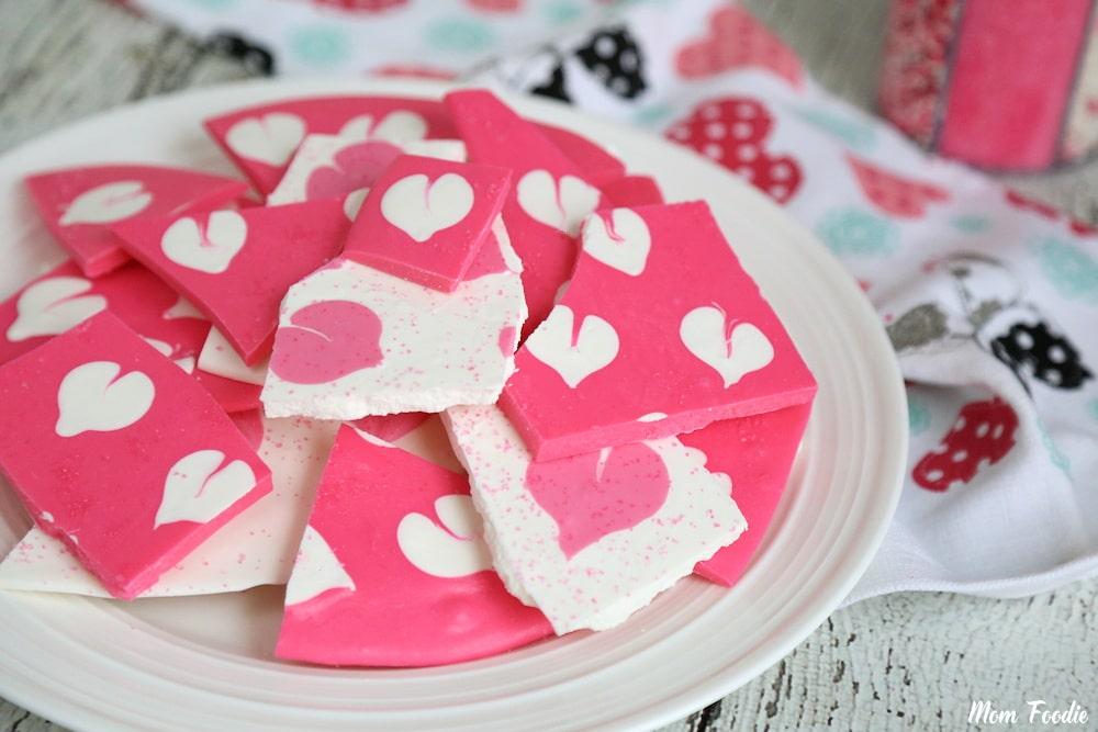 Valentine's Chocolate Bark with Swirled Heart Pattern