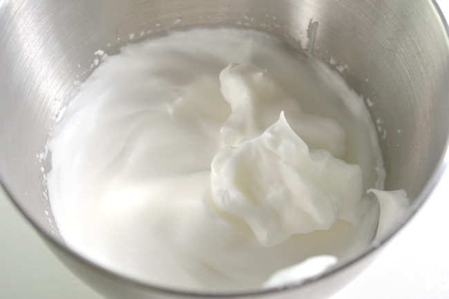 whipped egg white with stiff peaks