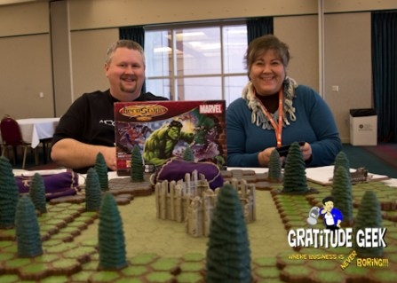 Lindsey Long hosts the Heroscape Game at 8th Dimension Cards and Comics in Houston.