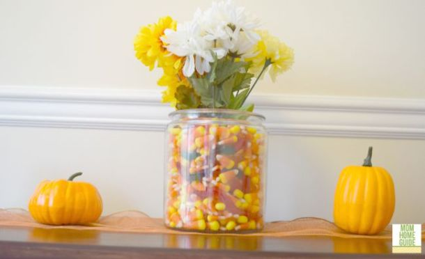 console or mantel table decorated for fall
