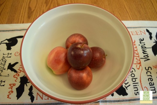 Personalized red mixing bowl with red apples