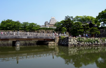 The moat and entrance to Himeji Castle