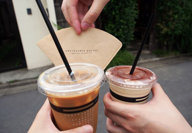 """I ordered an iced """"Omotesando Koffee"""", and LK had the """"Iced Bailey's Cappuccino""""."""