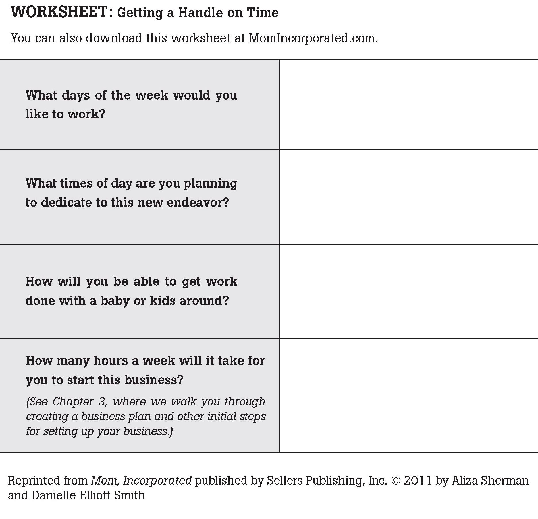 Worksheet Getting A Handle On Your Time