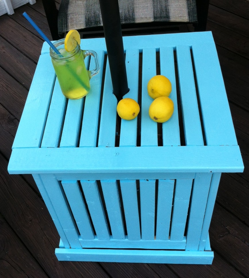Diy Patio Umbrella Stand Side Table Mom In Music City