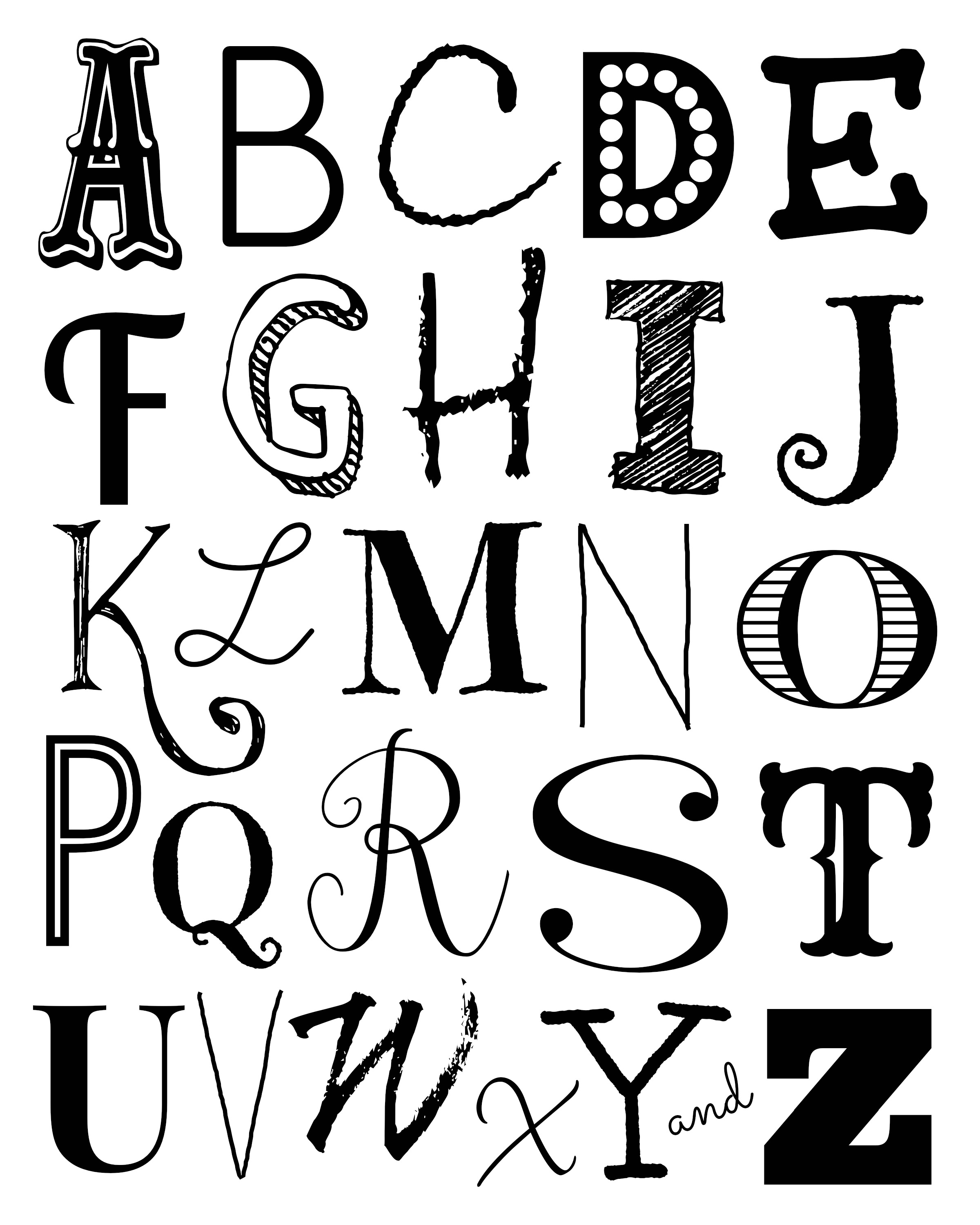 Alphabet Wall Art Free Printables