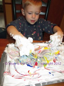 shaving cream play to practice letters and have fun at https://momistheonlygirl.com