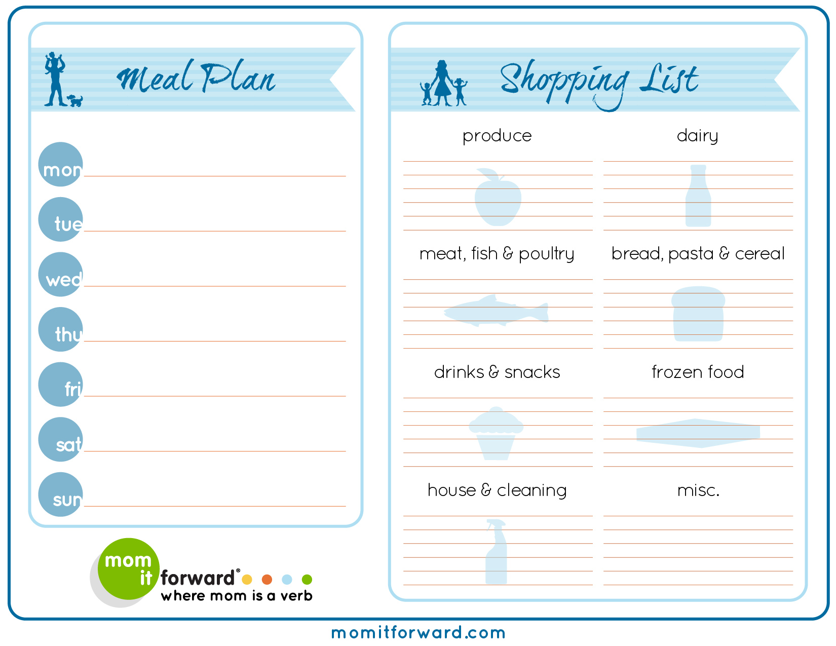 Meal Plan Worksheet Printable