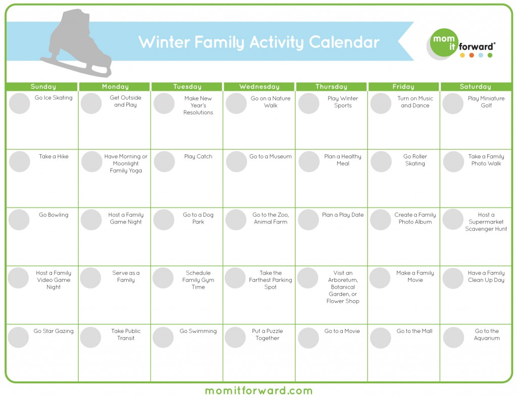 Winter Family Activity Calendar Printable