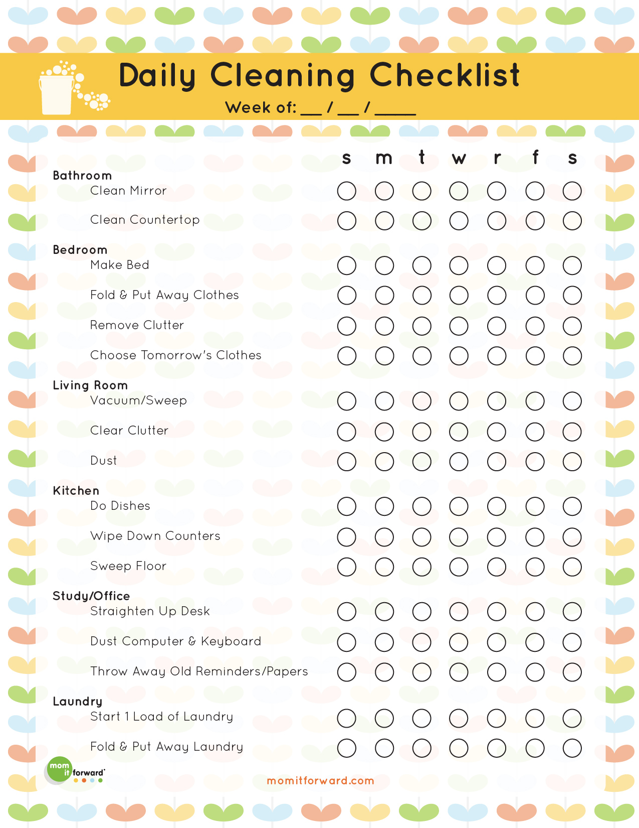 Daily Cleaning Checklist Printable Mom It Forward