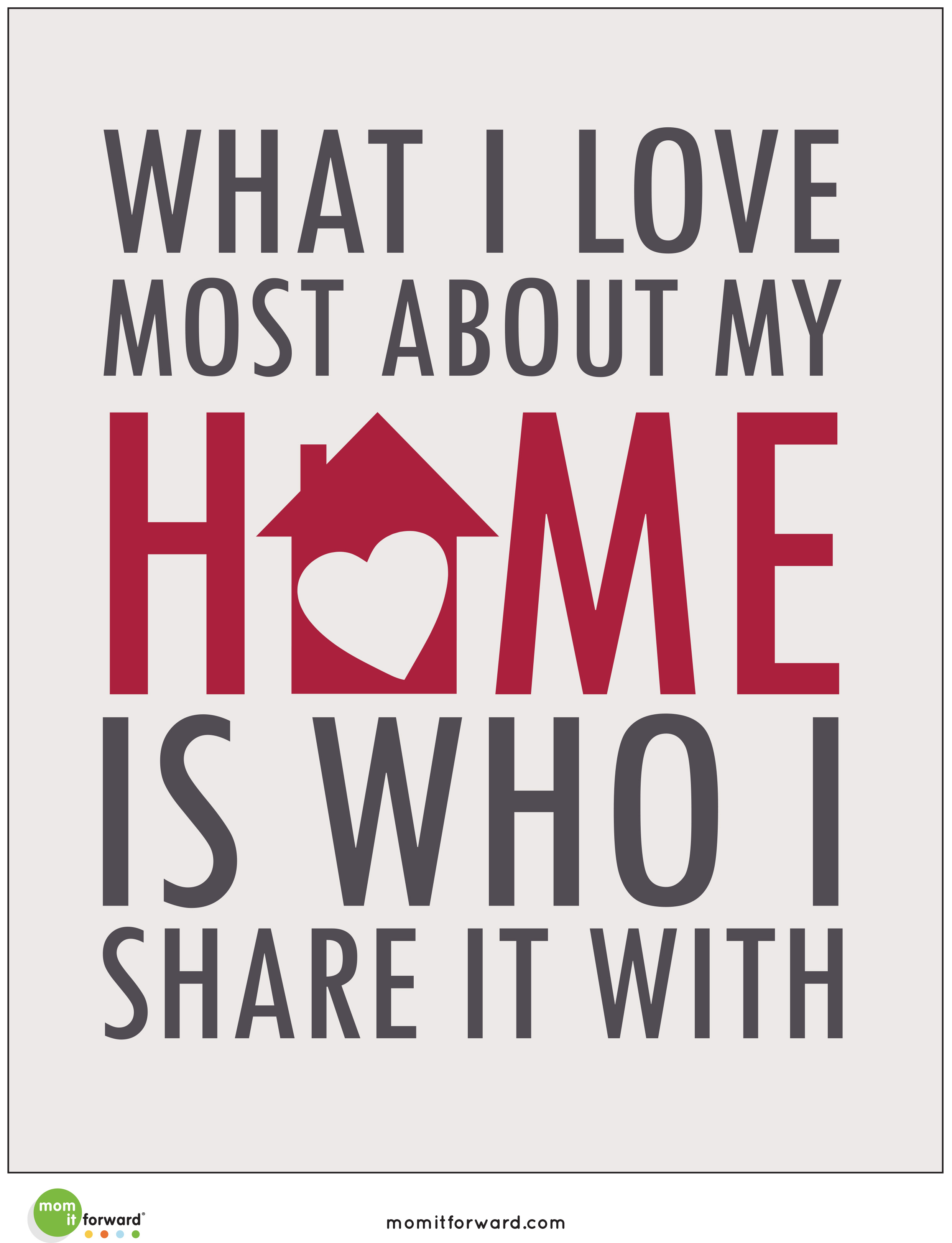 Printable What I Love About My Home