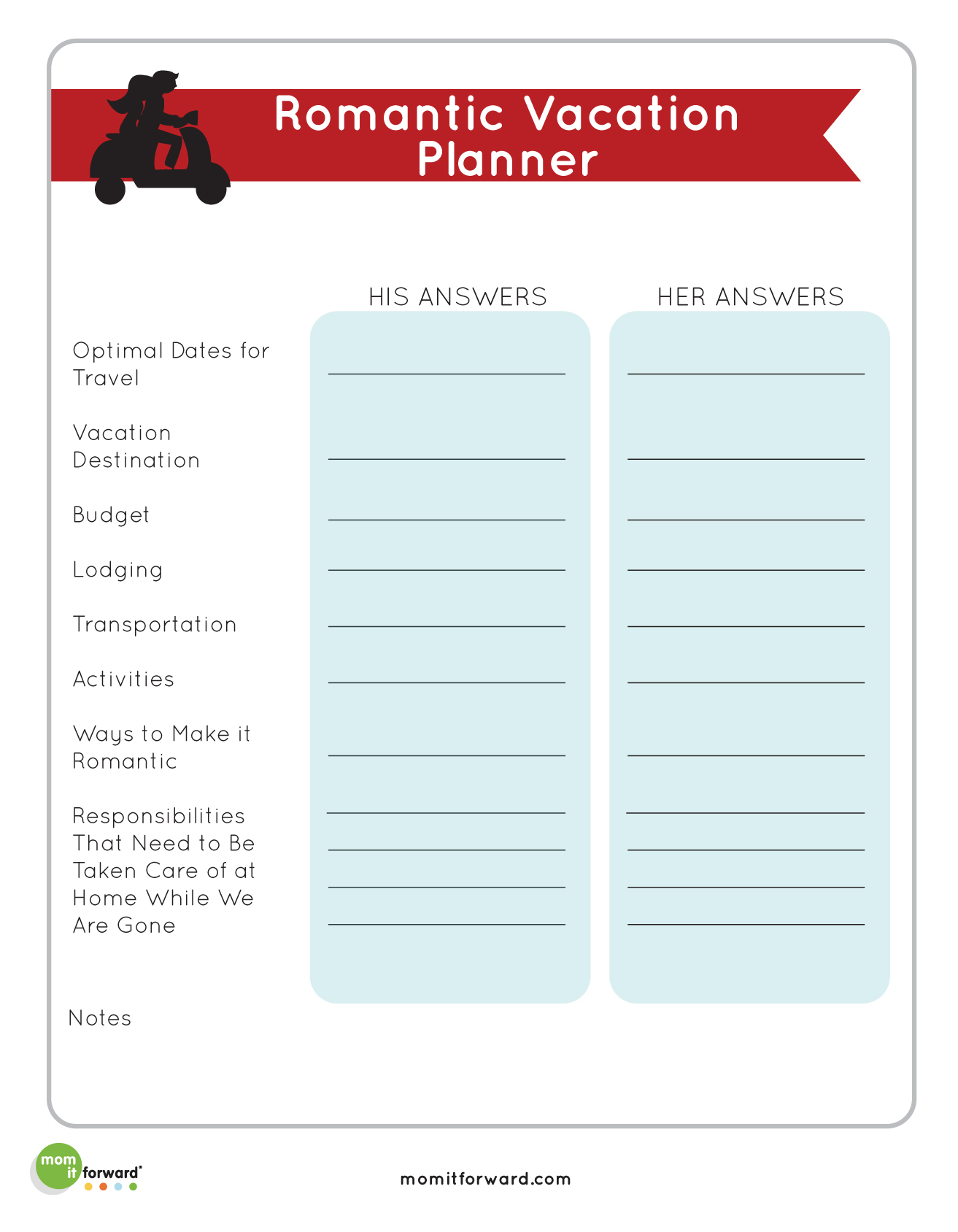 Printables Romantic Vacation Planner
