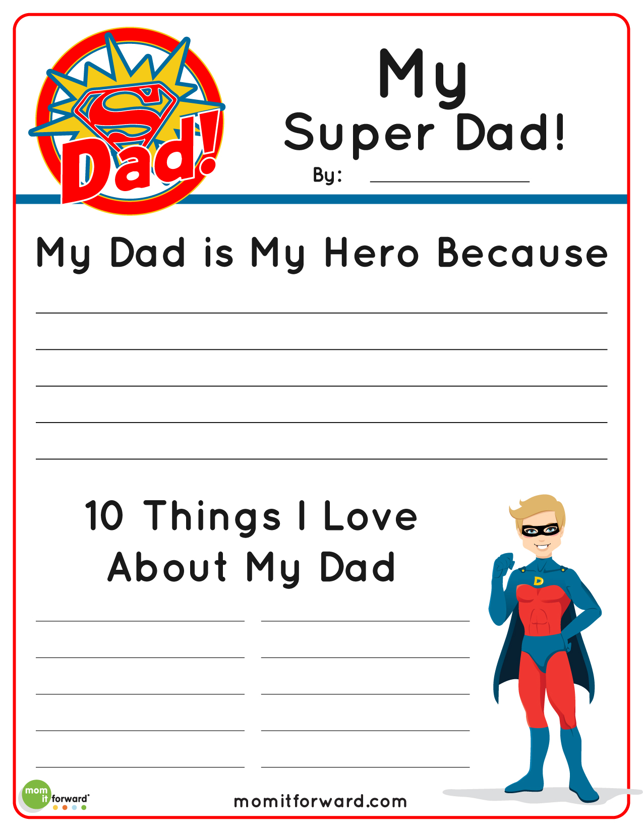 My Super Dad Father S Day Printablemom It Forward