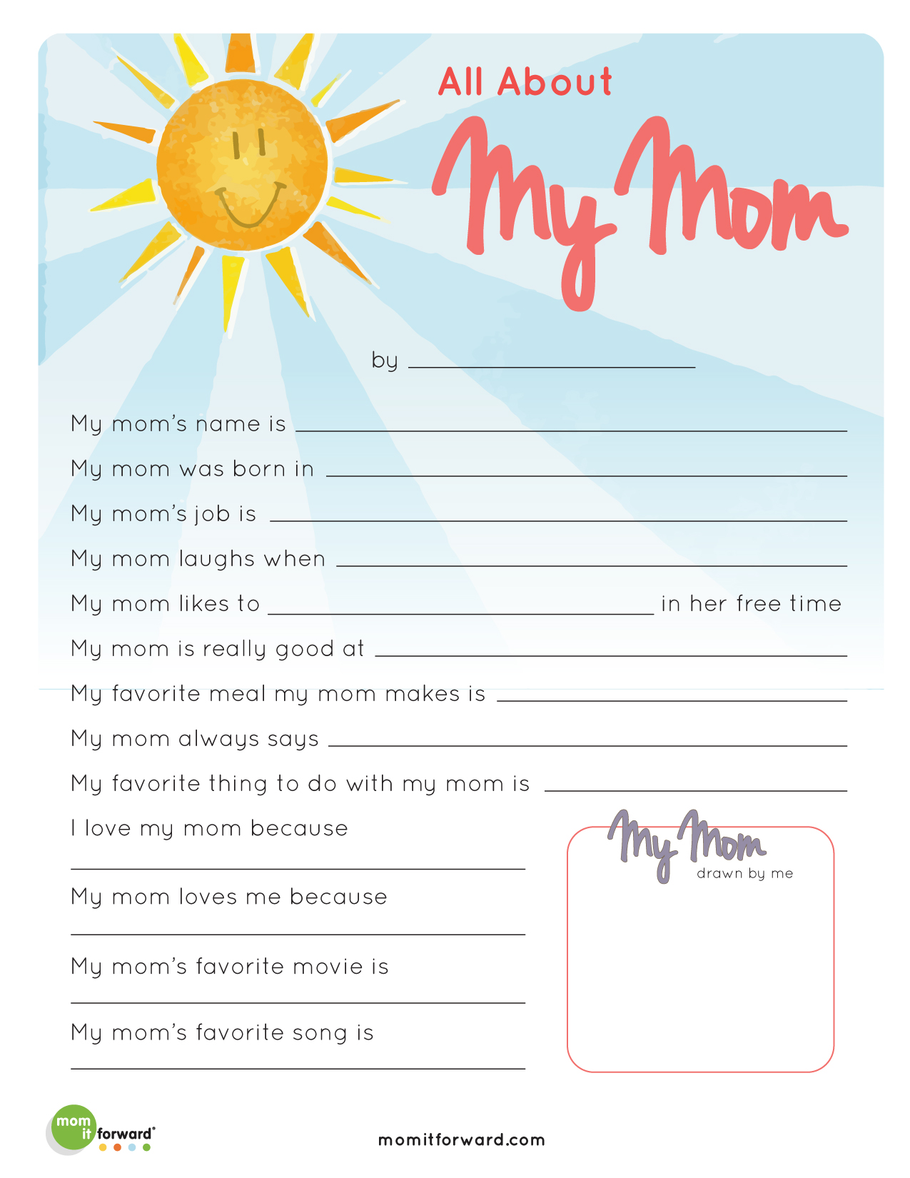 Mother S Day All About My Mom Printable