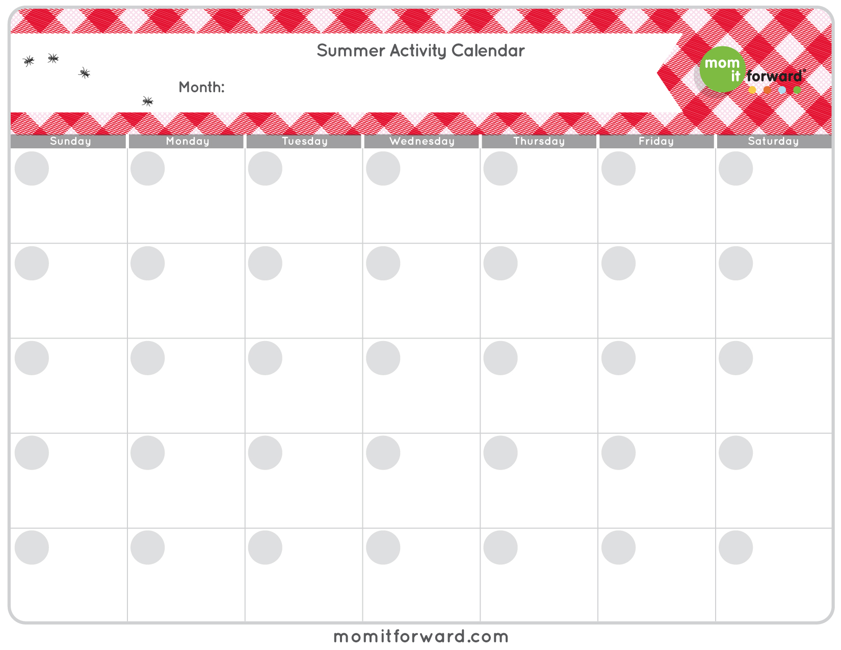 Summer Activity Calendar Printable