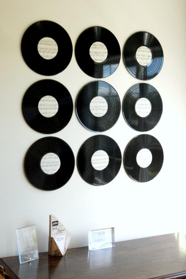 Wall Art Design Record Round Black Nine Piece Plate Creative