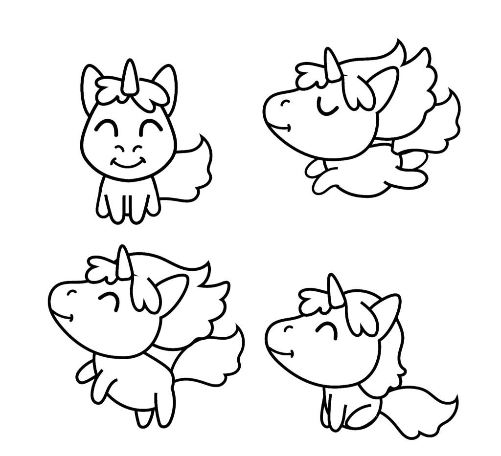 cute unicorn coloring book