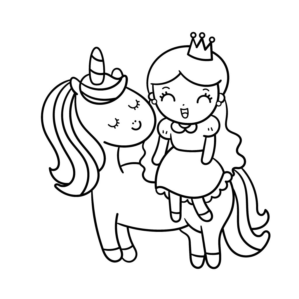 unicorn-and-princess-girl-coloring-page
