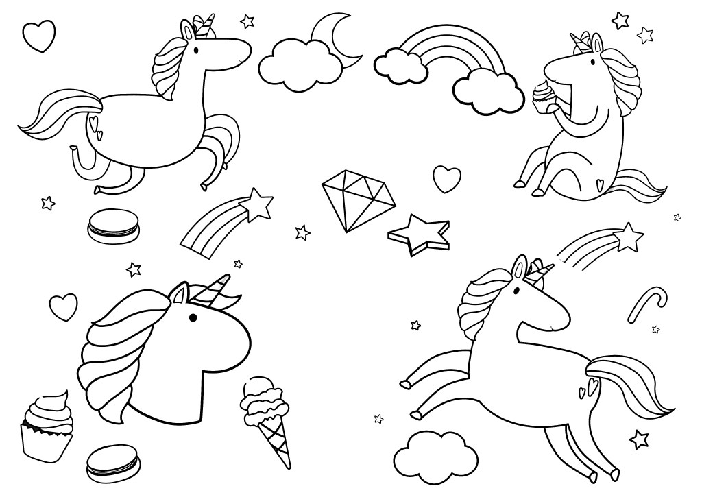 unicorn birthday party coloring page