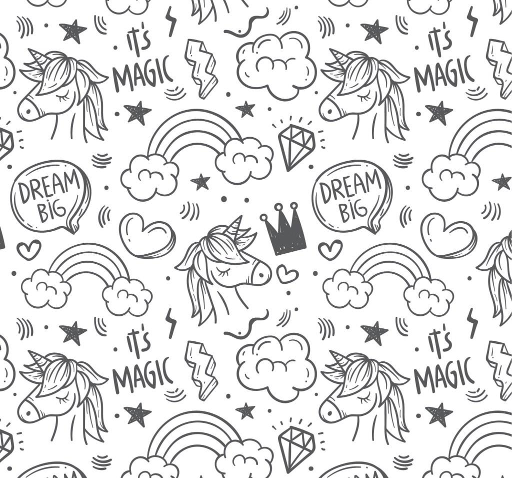 unicorn rainbows coloring book page