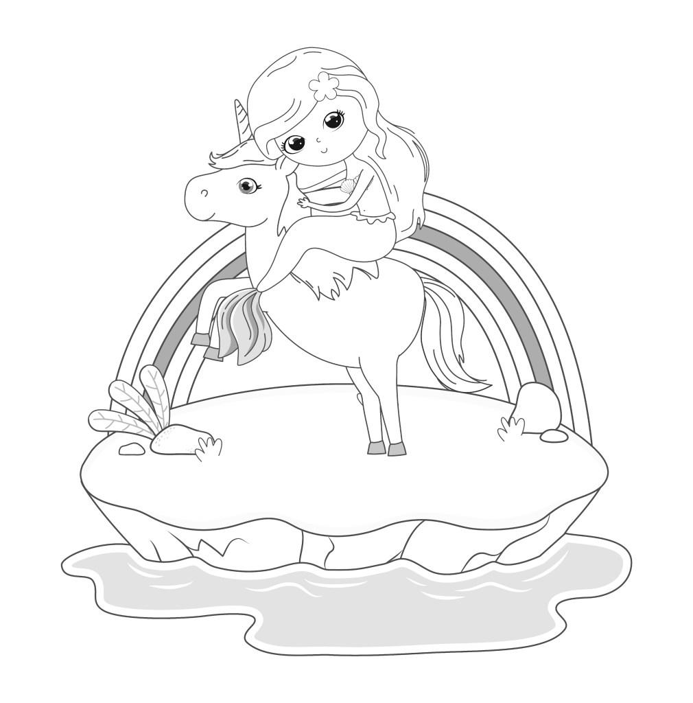 fairytale landscape scene with princess in unicorn vector illustration design