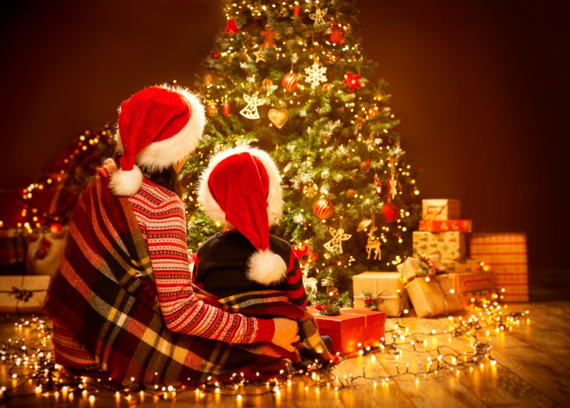 mom and child celebrating the joy of christmas looking at tree