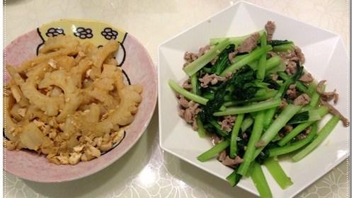 [P家廚房]苦瓜炒鹹蛋+油菜炒肉絲食譜 1