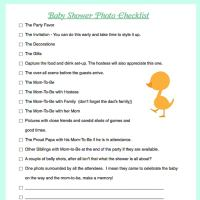 Baby Shower Photo Checklist