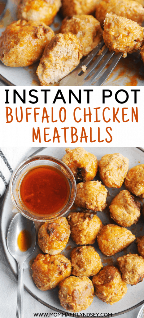healthy instant pot buffalo chicken meatballs that are keto and low carb. easy to make while also being whole30 and paleo friendly