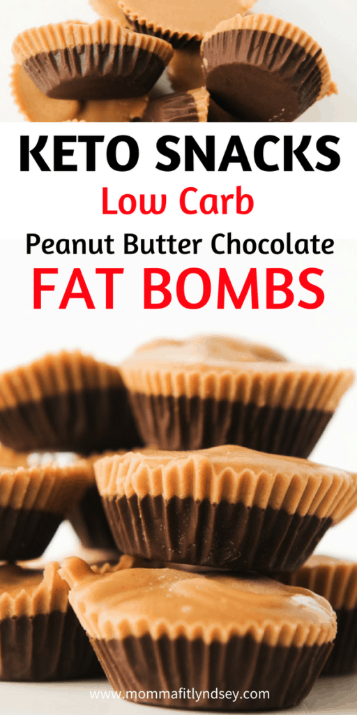 Simple Keto Dessert - Chocolate Peanut Butter Cup Fat Bombs. No bake and easy to make. Video for this super quick keto dessert for one.