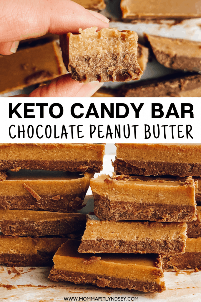 keto chocolate peanut butter candy bar - delicious keto dessert that is easy to make. quick keto desert for the ketogenic diet