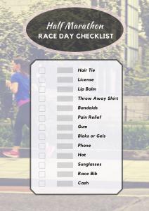 half marathon race day checklist