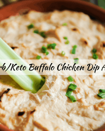 keto buffalo chicken dip is an easy healthy appetizer for tailgates and parties