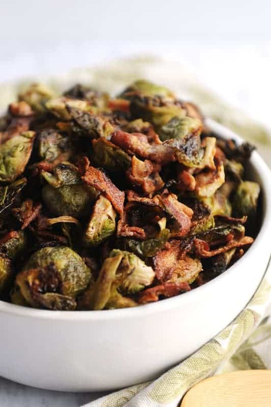 brussel sprouts with bacon is a delicious low carb keto friendly thanksgiving side