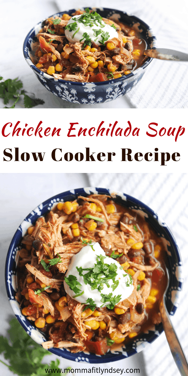 chicken enchilada soup is an easy weeknight recipe using your slow cooker or crockpot